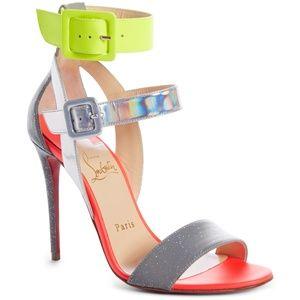rare Christian Louboutin Multipot 100 Leather heel
